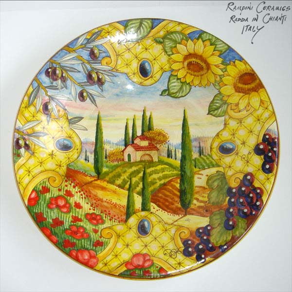 Round plate 55. Paesaggio Toscano colorato - Coloured Tuscan Landscape  sc 1 st  R&ini Ceramics & Rampini Ceramics selected decorative plates: Round plate 55 with ...