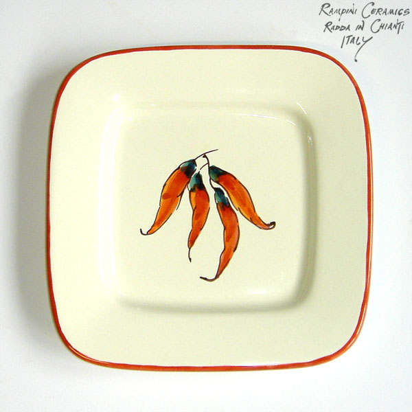 Decor AGL002 Chilli Peppers  sc 1 st  R&ini Ceramics & Rampini Ceramics: Square plate 18