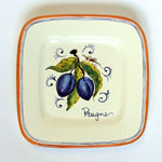 Plums. Small square plate (SQ18) - Antique Fruit (FRA001)