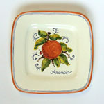 Orange. Small square plate (SQ18) - Antique Fruit (FRA001)