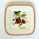 Strawberries. Small square plate (SQ18) - Antique Fruit (FRA001)