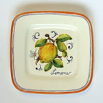 Lemon. Small square plate (SQ18) - Antique Fruit (FRA001)