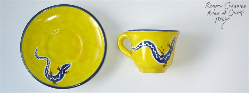 Espresso cup, saucer (CSEX) - Lizards on Yellow (LZY001)