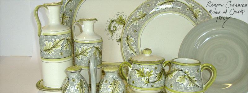Renaissance 5 (Rose Green - Clay, Sage) (RNO005) and Monocolour (MNC000) Dinner Set