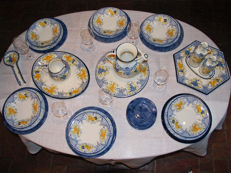 Tables set with R&ini Ceramics hand made Italian pottery for dinner lunch coffe or : italian dinnerware set - Pezcame.Com