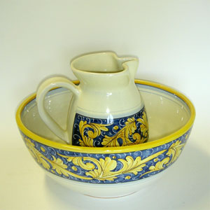 "Set of serving pieces ""Rinascimento blu/giallo"""